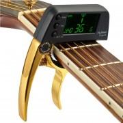 Professional Guitar Tuner Clip, Loftstyle Afinador Cromatico Pantalla LCD Pantalla Luz Giro Solo Guitar Capo (oro)