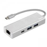 3-портов хъб USB-C HAMA Aluminium, USB 3.1 Gen1, 2 x USB-A, 1 x USB-C, 1х LAN, Сребрист, HAMA-135757