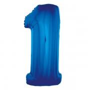 1. szám, fólia lufi, 91 cm, kék