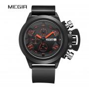 Big Dial Fashion Men's Military Sports Watches Waterproof Silicone Strap Casual Quartz Wrist Watch Male Relogio Masculino(Negro)