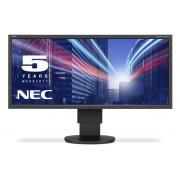 NEC MultiSync EA294WMi black 29' LCD monitor with LED backlight, IPS panel, resolution 2560x1080, 2xVGA, 2xDVI, DisplayPort, HDMI, speakers, 130 mm height adjustable