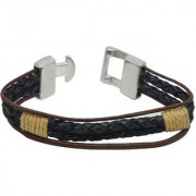 Sullery Rope Type Biker Black Leather Bracelet For Men And Women