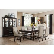 7 pc Reid collection cherry finish wood dining table set with fabric padded seats and backs