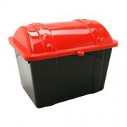 US TOY - 1 Medium Red & Black Plastic Pirate Treasure Chest, Plastic