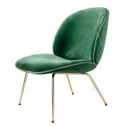 Gubi - Beetle Lounge Chair, Conic Base Messing / Samt (bottle green)