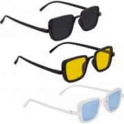 Phenomenal Rectangular Sunglasses(Black, Yellow, Blue)