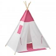 [en.casa]® Детска шатра 150 x 120 x 120 cm , Бял/Розов, Полиестер