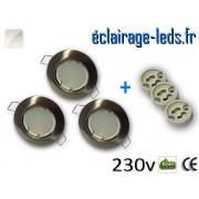Kit Spots LED GU10 Blanc naturel encastrable fixe chrome perçage 60mm ref kgu10-04