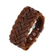 The Jewelbox Braided Dark Brown 100 Genuine Handcrafted Leather Wrist Band Strap Biker Bracelet Boys Men