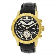 Heritor Automatic Hamilton Semi-Skeleton Leather-Band Watch - Gold/Black HERHR4104