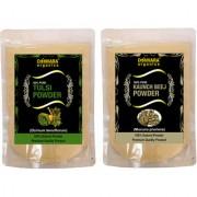 Donnara Organics 100% Natural Tulsi Powder and Kaunch Beej powder Combo pack of 2 of 150 gms(300 gms)