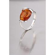 Borostyánköves ezüst gyűrű r-1292