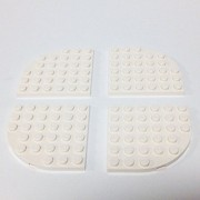 Lego Parts: Plate Round Corner 6 x 6 (PACK of 4 - White)