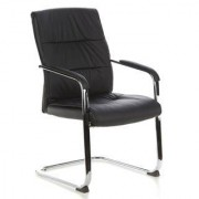 Hjh Lote 2 sillas confidente ergonómicas TRITON Ven piel negra, gran diseño
