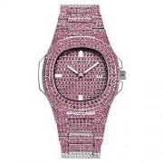 Nisaki Reloj de Moda para Hombres y Mujeres, Reloj de Diamantes de Vidrio de Hip Hop