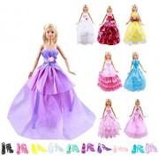 Keysse Ropa de muñeca para Barbie Lote de 18 artículos, 8 Paquetes de Vestidos de Fiesta de Boda únicos para muñecas de 11.5 Pulgadas y 10 Pares de Zapatos para niñas cumpleaños o Regalo de Navidad