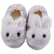 Efeng Pantuflas de felpa suave para niños y niñas con diseño de animales, cálidas y cálidas botas de invierno para interiores y casas, calcetines ligeros, suela antideslizante para niños pequeños, Conejo gris, 5-6 Toddler