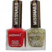 Miss Nails Set Of 02 Crystal Nail Polish Red+ Green Glitter 9 mL