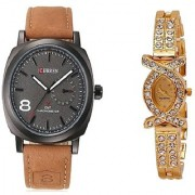 Curren Brawn Belt Men and AKS Women Watches Couple for Men and Women