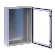 """Armadio Rack 19"""" a muro 17U grigio IP65 porta vetro prof. 200mm"""