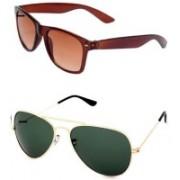 Barbarik Aviator, Wayfarer Sunglasses(Green, Brown)