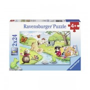 Puzzle animale jucause 2x24 piese