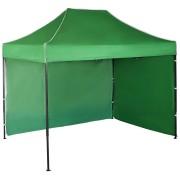 Gyorsan összecsukható sátor 2x3m – acél, Zöld, 2 oldalfal