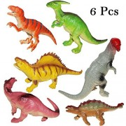 7 inch Assorted Dinosaur Animals Figures with Whistle Set of 6 - Large Dinosaur Figurines Bulk for Boys and Girls