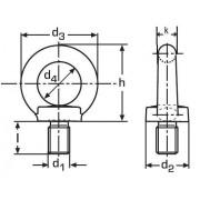 šroub M36 BEZ PÚ C15 E s okem závěsný DIN 580