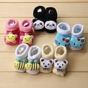 LITTLE CUTE Super Soft CARTOON Faced Softest shoe set for Baby Girl and Boy (0-9) Months Multicolor) Pack of 6 Pairs