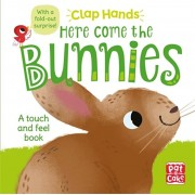 Clap Hands: Here Come the Bunnies. A touch-and-feel board book with a fold-out surprise, Board book/***