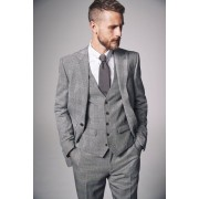 Mens Next Slim Fit British Wool Suit: Trouser - Grey Trousers