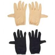 Tahiro Black N Beige Cotton Full Finger Gloves - Pack Of 2