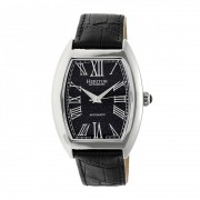 Heritor Automatic Baron Marbled-Dial Leather-Band Watch - Silver/Navy HERHR6004