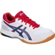 Asics Gel-Rocket 8 Badminton Non-Marking Indoor Court Shoes - White/Deep Ocean - 10 US Badminton Shoes For Men(White, Blue)