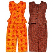 Wajbee Pretty Girls Cotton Night Suit Set of 2