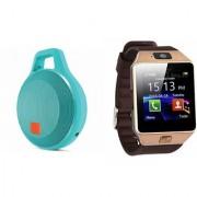 Zemini DZ09 Smart Watch and Clip Plus Bluetooth Speaker for LG OPTIMUS L7 II(DZ09 Smart Watch With 4G Sim Card Memory Card| Clip Plus Bluetooth Speaker)
