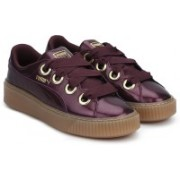 Puma Basket Platform Kiss Anodized Jr Fig-Pum Sneakers For Women(Maroon)