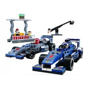 Sluban North America Sluban Racing Department TV crew - 300 Pieces (Brand New in Original English Box) 100% LEGO Compatible - Educational Toy - Building Bricks Toy Set (2 cars, media TV stand) Formula One Series M38-B0355