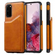 Samsung Voor Galaxy S20 Calf Texture Horizontal Flip Leather Case met Holder & Card Slots & Frame(Brown)