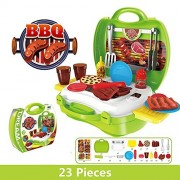 Kids Pretend Play BBQ Playset, Leagway Simulation Barbecue Grill Tools Kitchen Gourmet Food Role Paly Set, 23Pcs/Set in Portable Travel Suitcase Cooking Toy Kit for Kids Boys Girls Toddler (Barbecue)