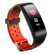 LCD Screen Heart Rate Health Monitoring Bluetooth Smart Bracelet with Silicone Strap - Red