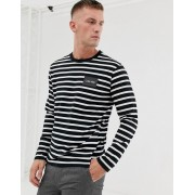 Calvin Klein striped long sleeve top in black/white