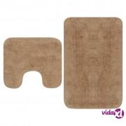 vidaXL 2-dijelni set kupaonskih otirača od tkanine bež