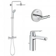 Pachet: Coloana dus Grohe Euphoria 260-27296002, Baterie lavoar Grohe Eurosmart Cosmopolitan M-23325000, Agăţătoare Grohe BauCosmopolitan-40461001