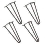 [en.casa]® Štýlové stolové nohy 3 – sada nôh (4 kusová) - 30 cm - strieborné
