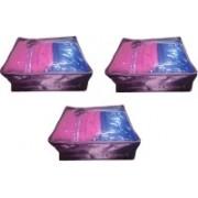 Addyz Plain 3 Saree Storage Cover Blouse Salwar Suit Shirt Jeans Case(Purple)