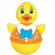 smartcraft Infants Push and Shake Wobbling Roly Poly Tumbler Duck with Soft and Sweet Bell Sounds Toys 3 Months (Yellow