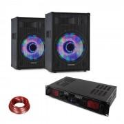 Fenton DJ set de PA LED10BT 2 x Altavoz PA Skytec Amplificador HiFi Cable de altavoz (PL-32429-10867)