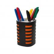 Suport instrumente de scris Ark, 3 compartimente, negru/portocaliu